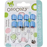 OsoCozy Diaper Pins - {Blue} - Sturdy, Stainless Steel Diaper Pins with Safe Locking Closures - Use for Special Events, Crafts or Colorful Laundry Pins