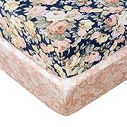 Brandream Floral Crib Sheet Blush Pink Floral Fitted Crib Sheet Chic Rose Baby Bedding Vintage Nursery Bedding Set for Girl, Navy, 2 Pack