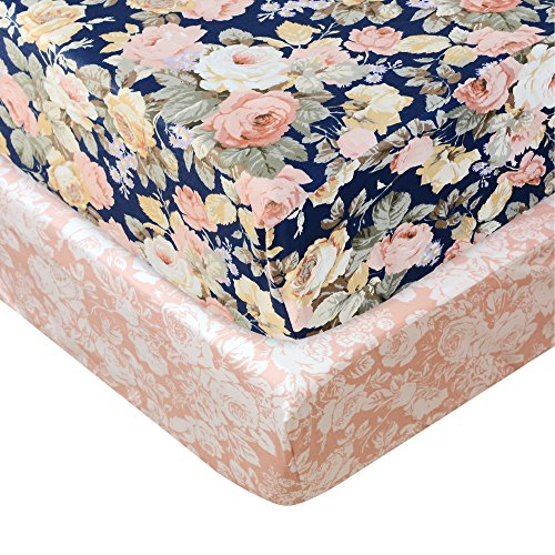 Brandream Floral Crib Sheet Blush Pink Floral Fitted Crib Sheet Chic Rose Baby Bedding Vintage Nursery Bedding Set for Girl, Navy, 2 Pack