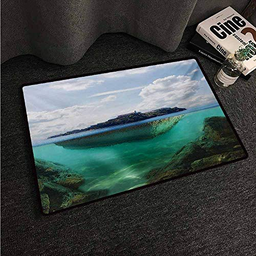 - HCCJLCKS Waterproof Door mat Island Floating Rock and Lighthouse in Crystal Clear Atlantic Water Mist Nature Photo Suitable for Outdoor and Indoor use W16 xL24 Blue Grey White