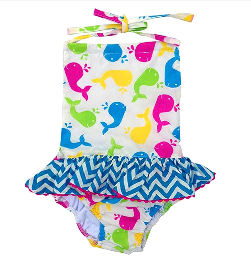 Babeeni Multi-Color Whale Print Girls One Piece Swim Suit