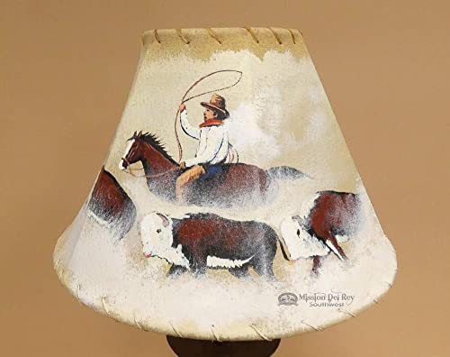 Painted Leather Western Lampshade 12 -Cattle Drive PL61