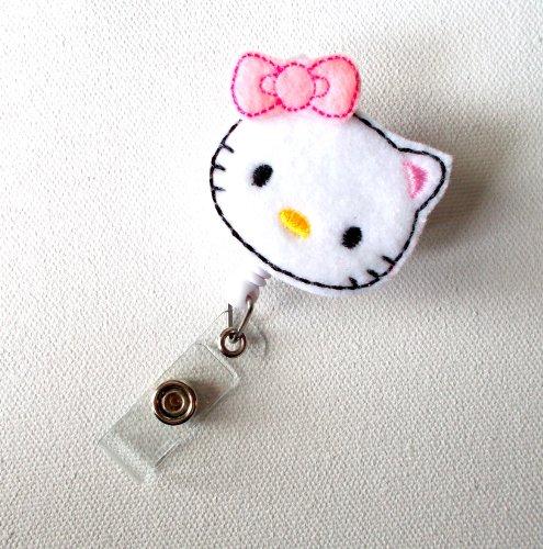 Pretty Kitty - Retractable ID Badge Reel - Name Badge Holder - Cute ID Badge Reel - Nurse Badge Holder - Nursing Badge Clip - Felt ID Badge