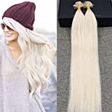 """Full Shine 20"""" U Tip Hair Extension Real Human Hair Color #60 Platinum Blonde Straight Keratin Remy Human Hair Extension 1g/ Strand"""