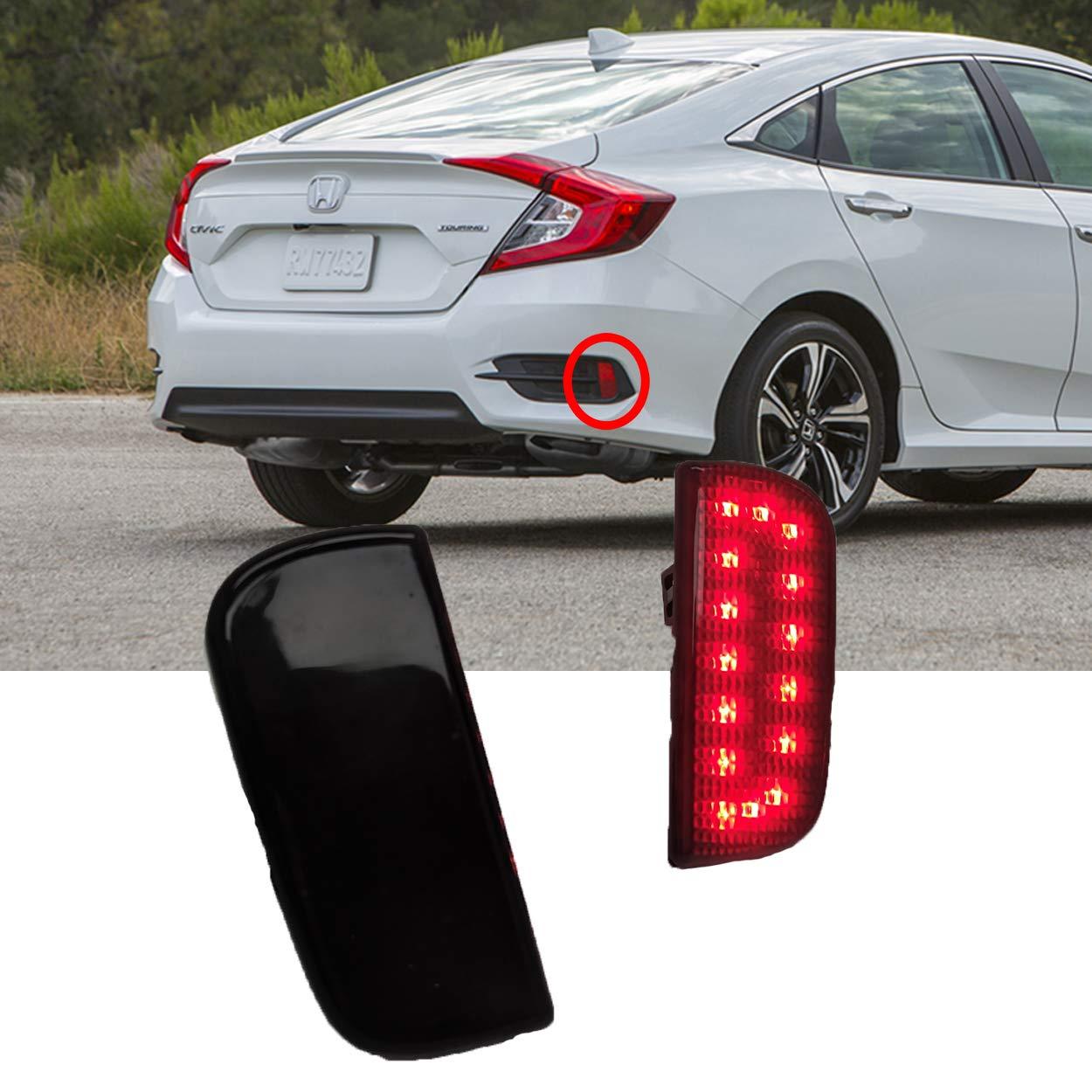 TopPick LED Bumper Reflector Lights FOR Honda Civic X 2016-2019 Smoke//Black 33555TBAA01-S-33505TBAA01-S