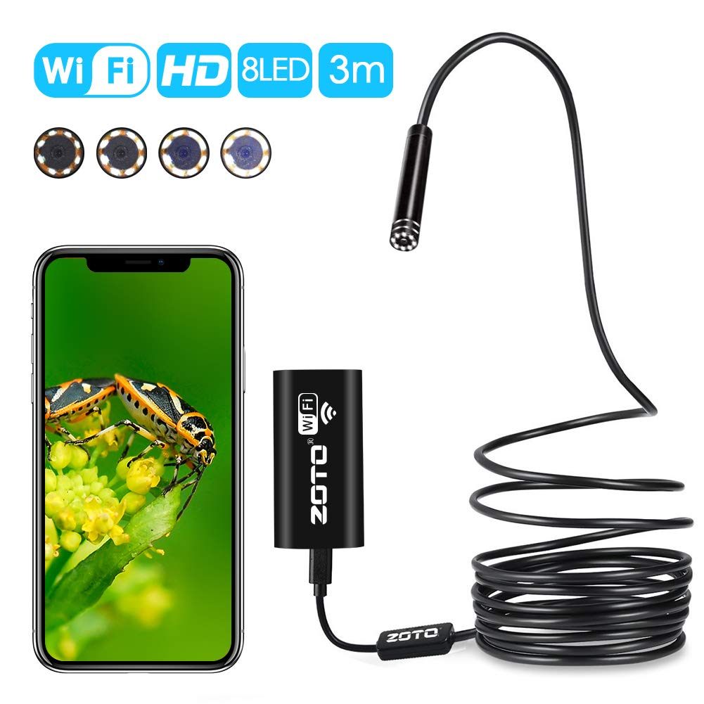 Waterproof Wireless Borescope 3M 8 LED Snake Camera for iPhone Android Windows and tablet ZOTO WIFI Inspection Camera UPGRADED 2MP 720P HD Endoscope