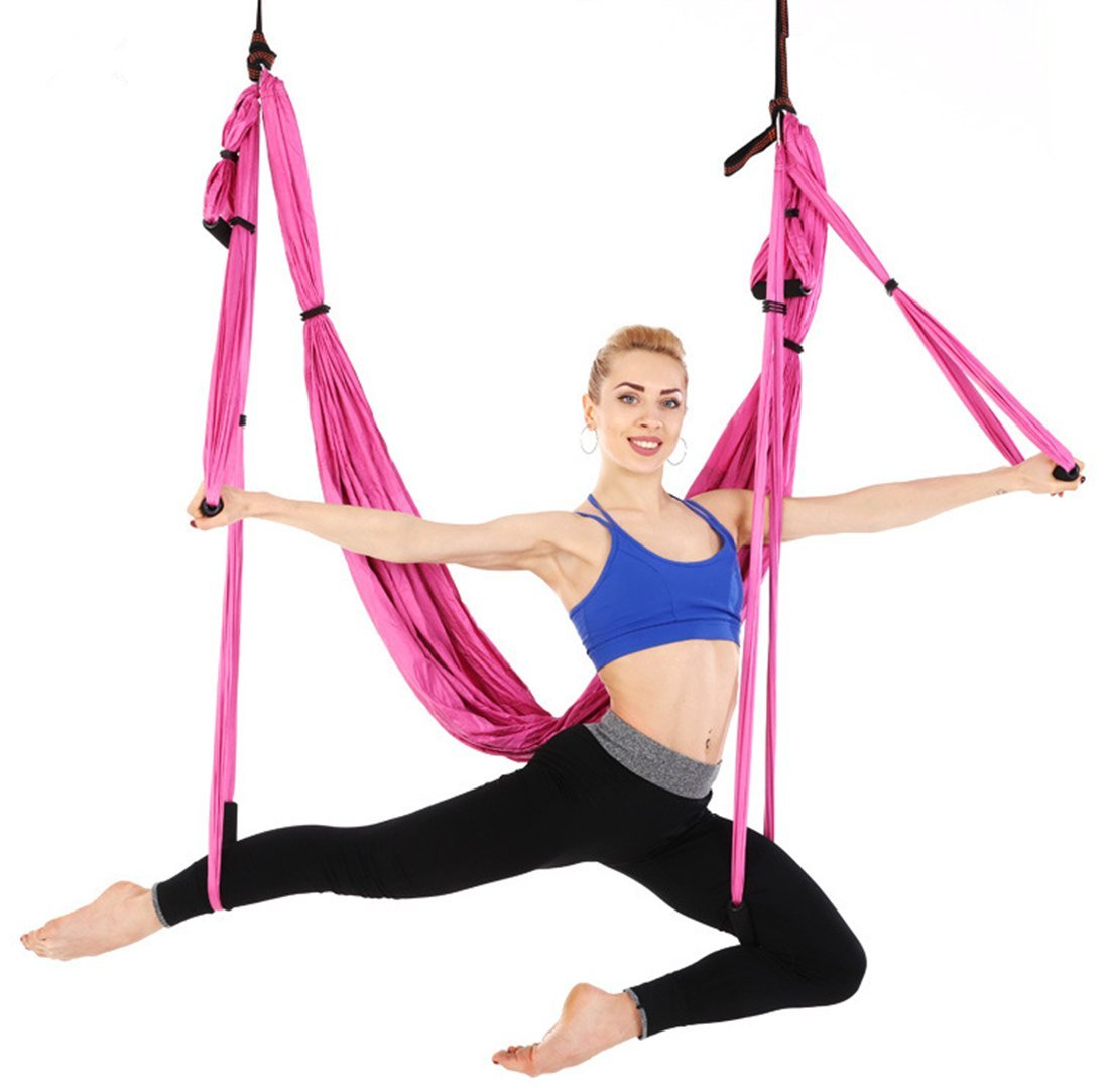 Ranbo aerial yoga trapeze set Ultra Strong Antigravity Yoga Swing / Hammock Holds Up to 400 Pounds for Inversion Exercises Pilate Fitness Flexibility Core Strength Weight Loss (Pink)