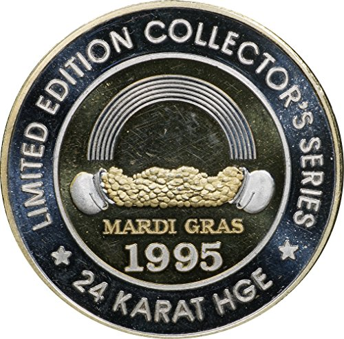 1995 Mardi Gras .999 Silver Strike, Grand Casino, 25k HGE, 44.26 gm, 47 mm, 1 Good