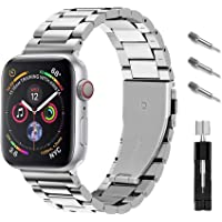 Ontube Bands Compatible with Apple Watch, Stainless Steel Link Bracelet Strap for Series SE/6/5/4/3/2/1 (42MM/44MM…
