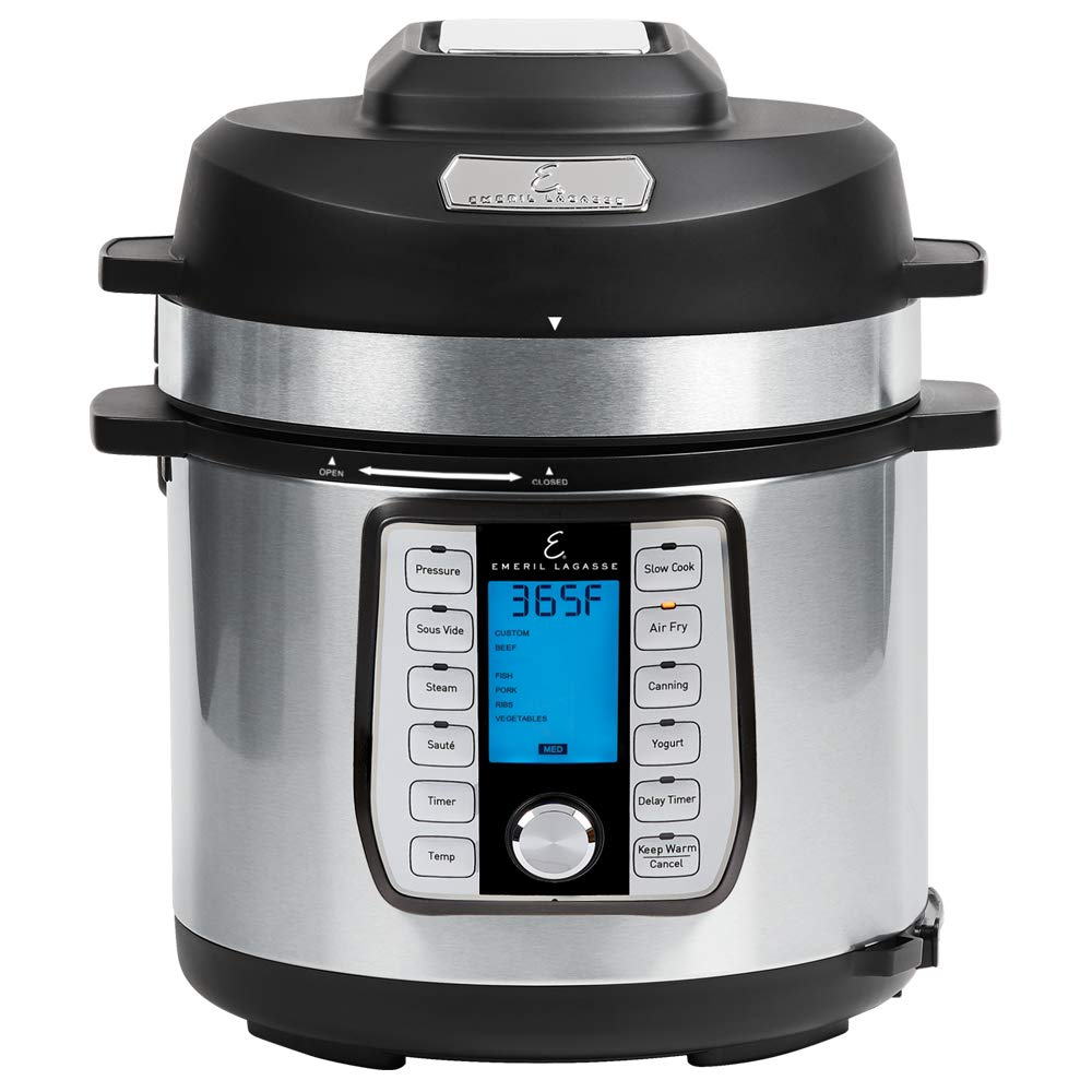 Emeril Lagasse Pressure Cooker, Air Fryer, Steamer & All-in-One Multi-Cooker. Pressure & Crisper Lid, Glass Lid. 6-Quart Black. Emeril Recipe Book