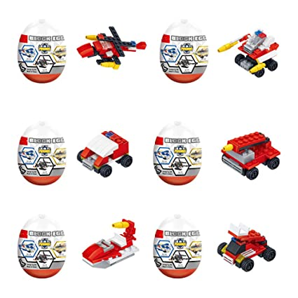 Jofan 6 in 1 Fire Engine Building Blocks Toys Jumbo Easter Eggs with Toys Inside for Kids Boys Girls Easter Gifts Easter Basket Stuffers Fillers