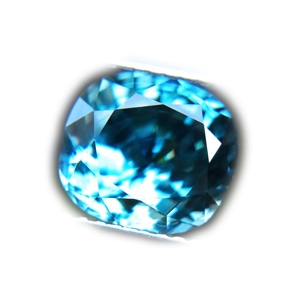 4.26ct Natural Cushion Gentle Heated Blue Zircon Cambodia #PU