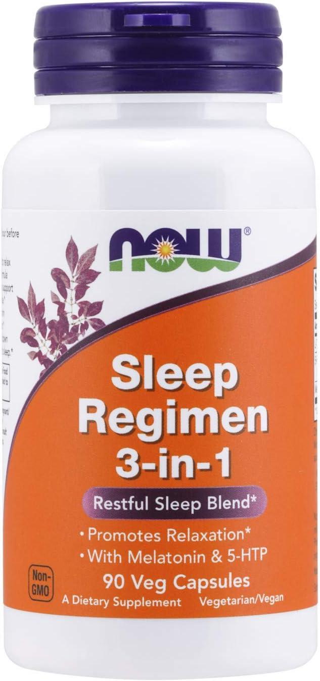 NOW Foods Sleep Regimen 3-in-1, with Melatonin, 5-htp and L-theanine, Restful Sleep Blend, Veg Capsules, 90 Count