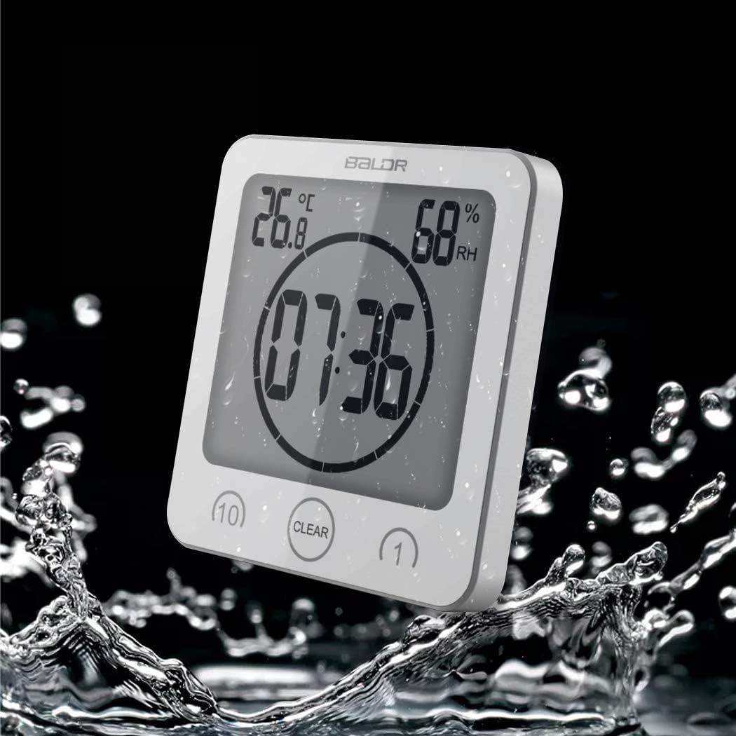 ALEENFOON Digital Badezimmeruhr Duschuhr Wasserdicht mit Saugnapf  Thermometer zum Hinstellen Wand Dusche Countdown Timer Digitalwecker Handy