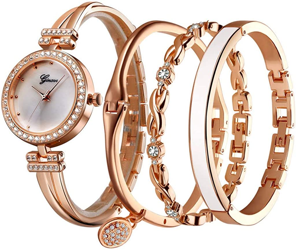 QFERW Relojes 4 PCS Set Watch Mujeres Rose Gold Diamond Bracelet Watch Luxury Jewelry Ladies Female Girl Hour Casual Relojes de Pulsera de Cuarzo, Rose White: Amazon.es: Relojes