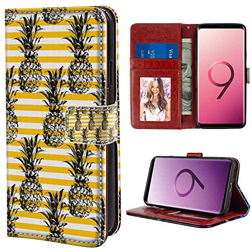 (Grunge Retro Striped Background with Pineapple Figures Vintage Hippie Graphic Black and Earth Yellow Print Wallet Case Compatible for Samsung Galaxy S9 Plus (6.2 Version) Leather Case)