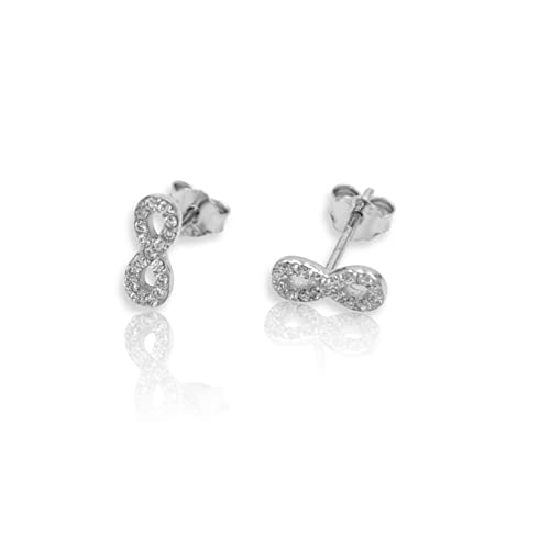 5419667f4 Image Unavailable. Image not available for. Color: 925 Sterling Silver  Micro Pave CZ Infinity Knot Symbol 8 Stud Earring ...