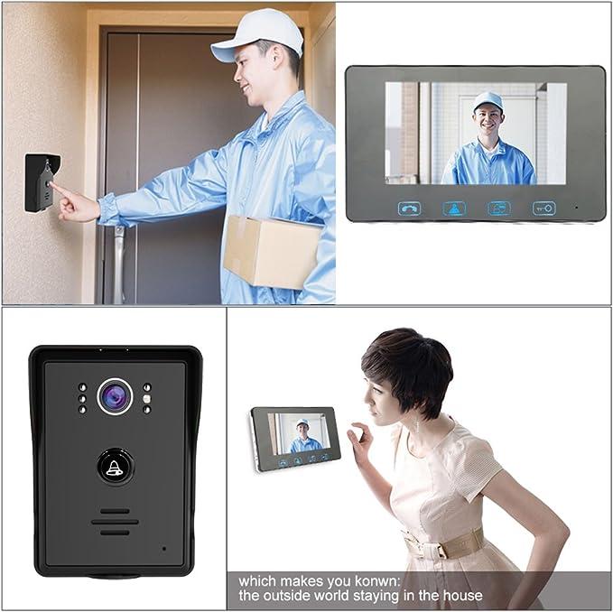 intercomunicador de videoportero con cable para seguridad en el hogar,1 monitor monitor de 7 pulgadas cerradura magn/ética el/éctrica Sistema de timbre de video c/ámara de visi/ón nocturna