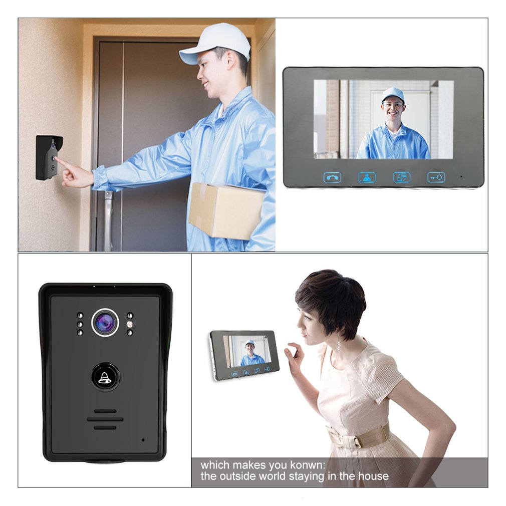 Video Door Phone Doorbell Wires Intercom Monitor 7 Wiring A With Telephone Wire Wired Bell Home Security System Night Vision And Push Button Hd Camera