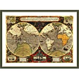 "Alonline Art - Antique Old Vintage V2 World Map | Green FRAMED 100% Cotton Canvas On Foam board - READY TO HANG Museum Quality | 23""x16"" - 58x41cm, Framed size: 24""x18"" 