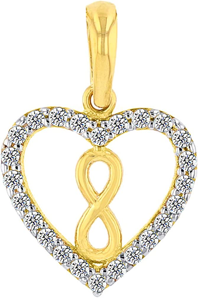 Solid 14k Yellow Gold CZ Heart wit Vertical Infinity Symbol Pendant Necklace
