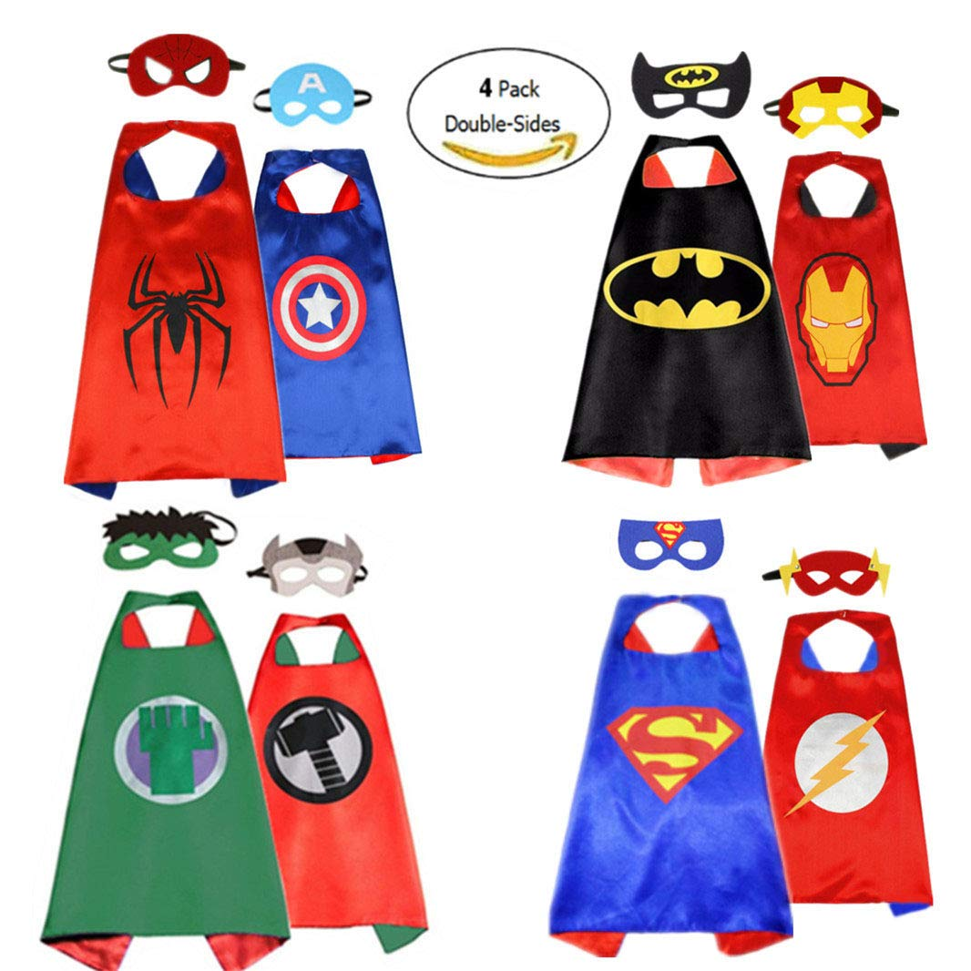 Superhero Capes for Kids Dress up Costumes Double-Sides Capes (4 Pack, 8 Mask)