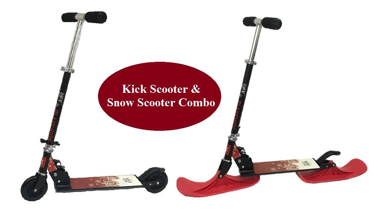 Kick Scooter & Snow Kick Scooter Combo for Kids at 5 Year & Above (with 2 wheels & 2 RED Skis) B2C Scooter