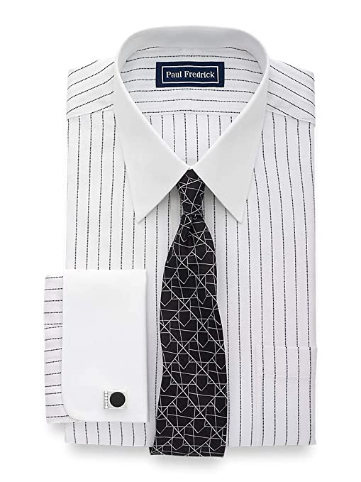 1960s -1970s Men's Clothing Paul Fredrick Mens Slim Fit Pure Cotton Stripe Dress Shirt $57.00 AT vintagedancer.com