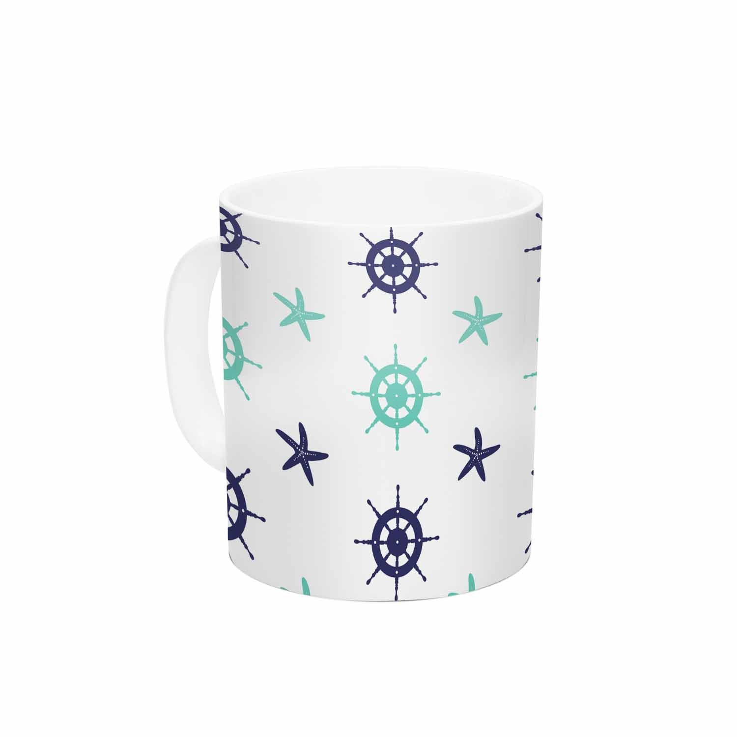 KESS InHouse afe imagesHelm Wheel /& Starfish Blue Teal Illustration Ceramic Coffee Mug 11oz Multi