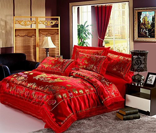 HNNSI 4pcs Wedding Bedding Sets Queen Size, Chinese RED Dragon and Phoenix Mandarin Duck Satin Lace Duvet Cover Set with Cotton Flat Sheet,Quit/Comforter Cover Sets(Queen, ()