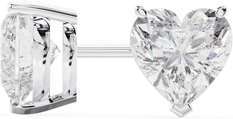 Amazon Com 18k White Gold Heart Shape Diamond Stud Earrings 1 Carat Jewelry