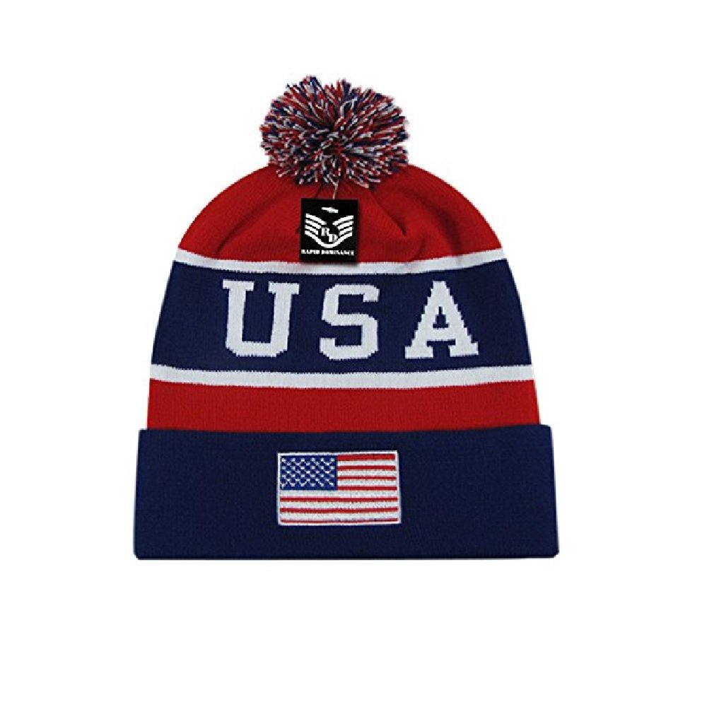 42c9a4a9da0191 Amazon.com: Red White Blue Patriotic USA Embroidered American Flag US Cuff  Watch Cap Stocking Hat Beanie: Sports & Outdoors