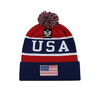 Red White Blue Patriotic USA Embroidered American Flag US Cuff Watch Cap  Stocking Hat Beanie 1cbc36a82d5