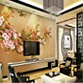 ShAH Custom 3D Wallpaper Mural Floor Stickers Hd Hand - Inted Flowers and Birds Tv Background Wall Wall Decoration Living Room Bedroom Sofa