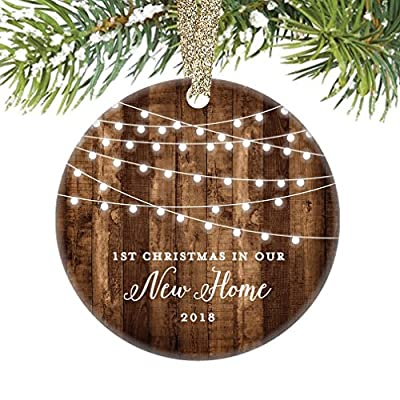"""Housewarming Gifts 2018, Dated 1st Christmas In Our New House Ornament New Home Rustic Xmas Farmhouse Collectible Homeowner Present Real Estate Agent 3"""" Flat Circle Porcelain Gold Ribbon Free Gift Box"""
