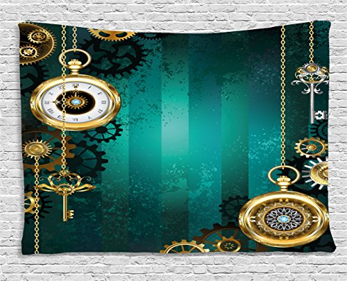 "Ambesonne Industrial Tapestry, Antique Items Watches Keys and Chains with Steampunk Influences Illustration, Wide Wall Hanging for Bedroom Living Room Dorm, 60"" X 40"", Green Gold"
