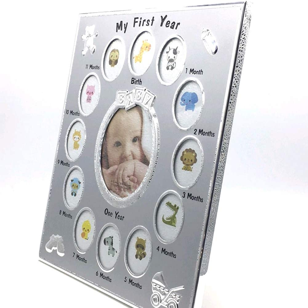 hong Wu Creative-Aluminium-Legierung Foto-Rahmen-Baby Meines Ersten Jahr-Foto-Rahmen-Baby-bilderrahmen Multi-Foto-Rahmen F/ür Kinder Geburtstags-Geschenk 1set Silber