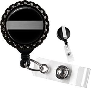 Correctional Officer Thin Silver Line Black Retractable Badge Reel ID Tag Holder by Geek Badges