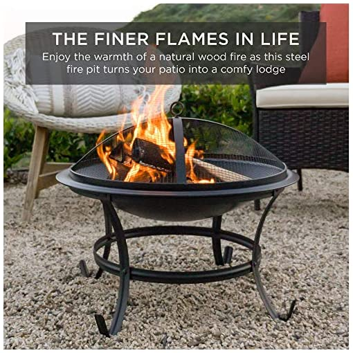 Fire Pits Best Choice Products 22-inch Outdoor Patio Steel Fire Pit Bowl BBQ Grill for Backyard, Camping, Picnic, Bonfire, Garden… firepits