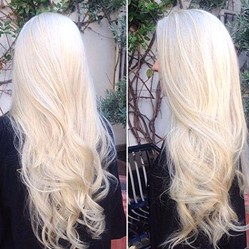 BLUPLE Platinum Blonde Lace Front Wig Long Natural Wavy White Heat Resistant Synthetic Hair Glueless Half Hand Tied Replacement Full Wigs for Women (20 inches, Natural Wave,#60)