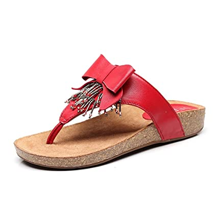 Sandalias Amazing Verano para Mujer Rojas Zapatillas de Playa para Playa (Color : Rojo,