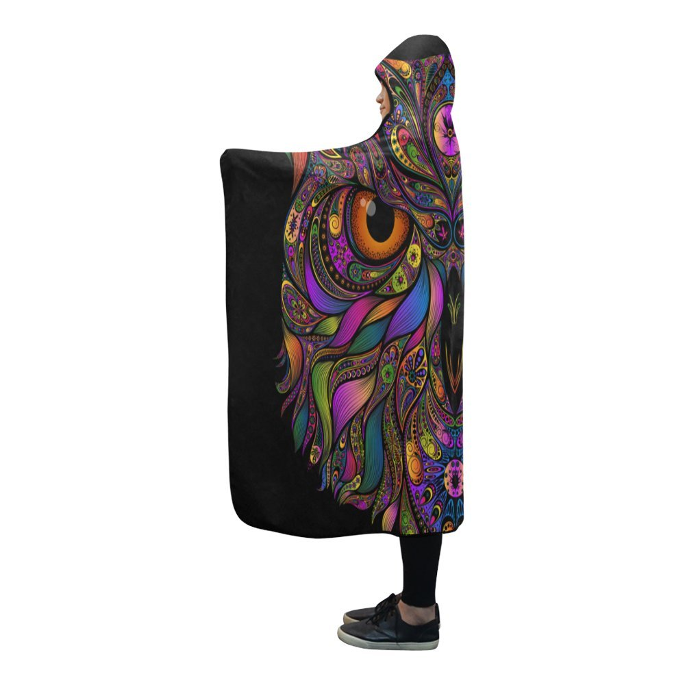InterestPrint Hooded Blankets Colored Owl Throw Wearable Anti-Pilling Polar Fleece Blanket Wrap 80x53 inch