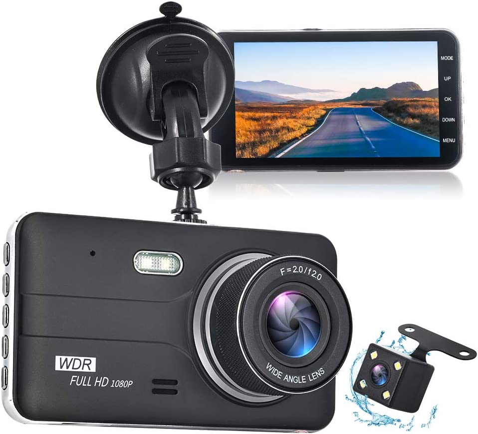 Front and Rear Dual Dash Cam 1080P DVR Dashboard Camera Full HD 4 Inch IPS Screen 170°Wide Angle, WDR, G-Sensor, Loop Recording, Parking Monitor, Motion Detection, Night Vision
