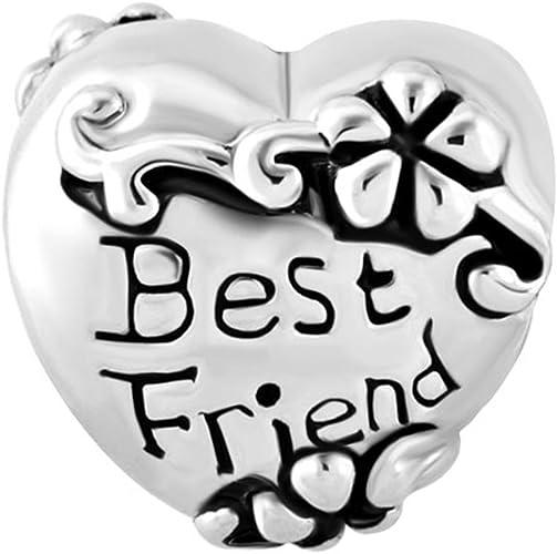 Isajewelry Meilleur ami amitié cœur Fleur Charm Pandora Charm Bracelets
