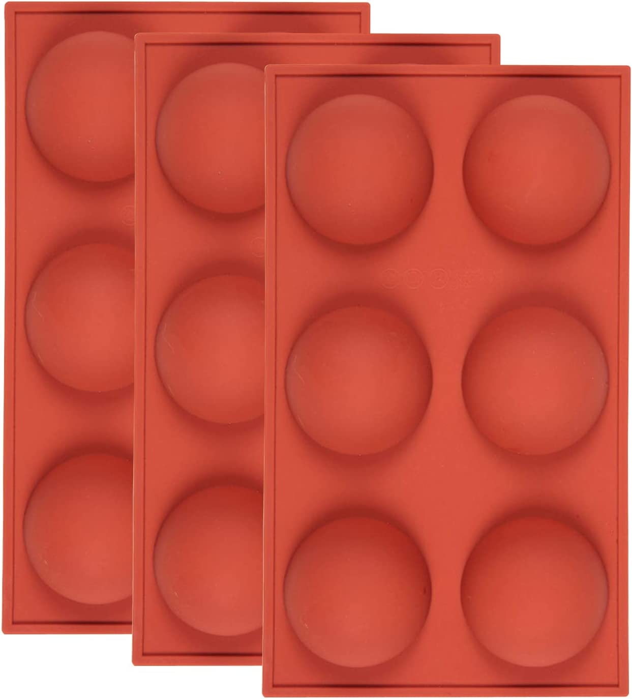 Large 6-Cavity Semi Sphere Silicone Mold, 6 Holes Silicone Mold For Chocolate, Cake, Jelly, Pudding, Handmade Soap, BPA Free Cupcake Baking Pan (3pcs)