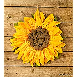 """21"""" Sunflower Wall Decor Country Rustic Primitive Burlap Wall Hanging Wreath"""