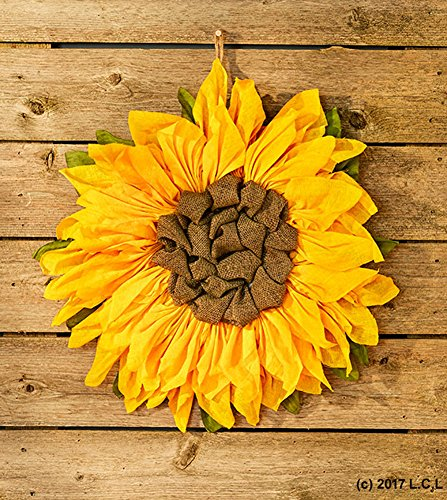 "21"" Sunflower Wall Decor Country Rustic Primitive Burlap Wall Hanging Wreath"