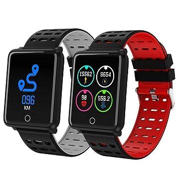 STEAM PANDA Relojes Inteligentes Pulsera con Monitor de Ritmo cardíaco y presión Arterial Impermeable para Mujeres Hombres Pareja Amante (Rojo, ...