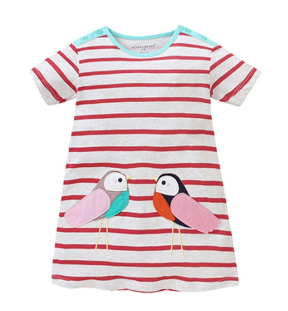 HILEELANG Toddler Girls Summer Cotton Short Sleeves Applique Casual Striped Dresses by HILEELANG (Image #5)