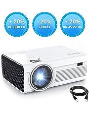 Mini Proyector Portátil,Full HD LED 1080P Cine en Casa Crosstour Vídeo Proyector con altavoces duales,Lampara con 55.000 Horas de Uso,Compatible con HDMI/USB/Micro SD/VGA/AV/TV Box/PS4